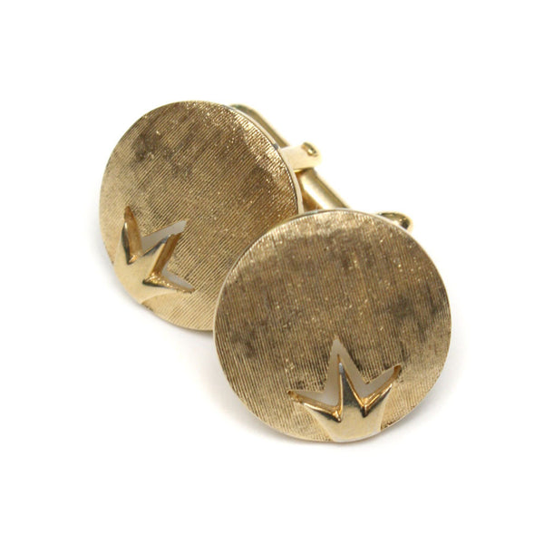 vintage 1960s mens gold tone crown cuff links