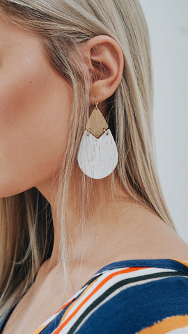Cream and Sugar Teardrop Earrings