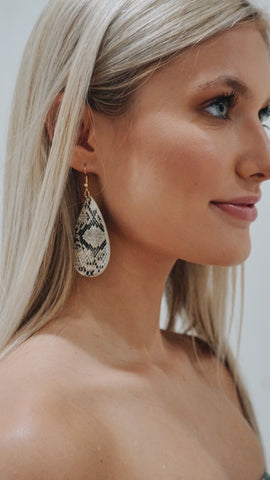 Sassy in Snakeskin Teardrop Earrings