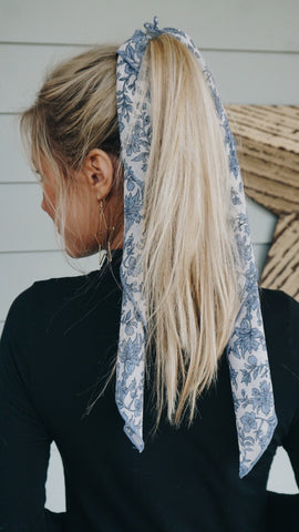 Blue Floral Hair Scarf
