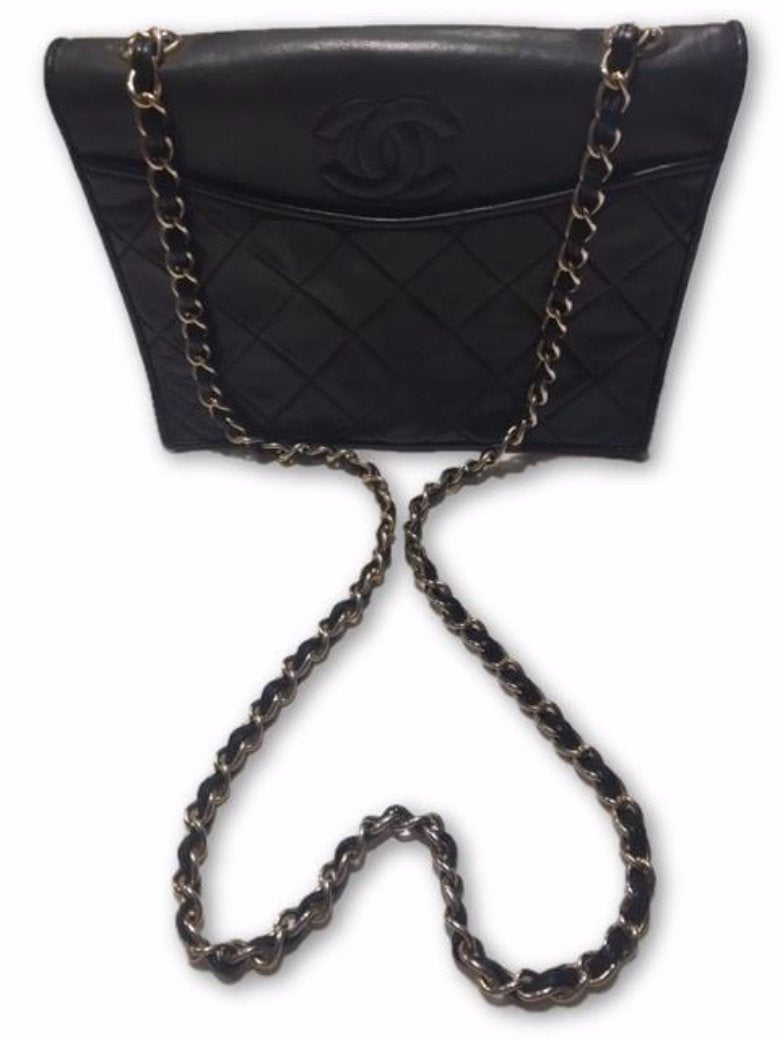 Vintage Chanel Quilted Lambskin Leather Chain Shoulder Bag