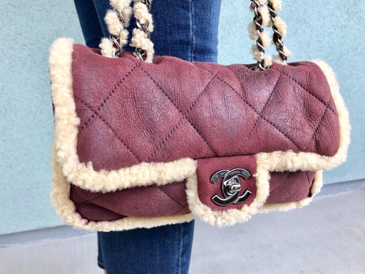 Chanel Lambskin and Shearling Quilted Shoulder Bag
