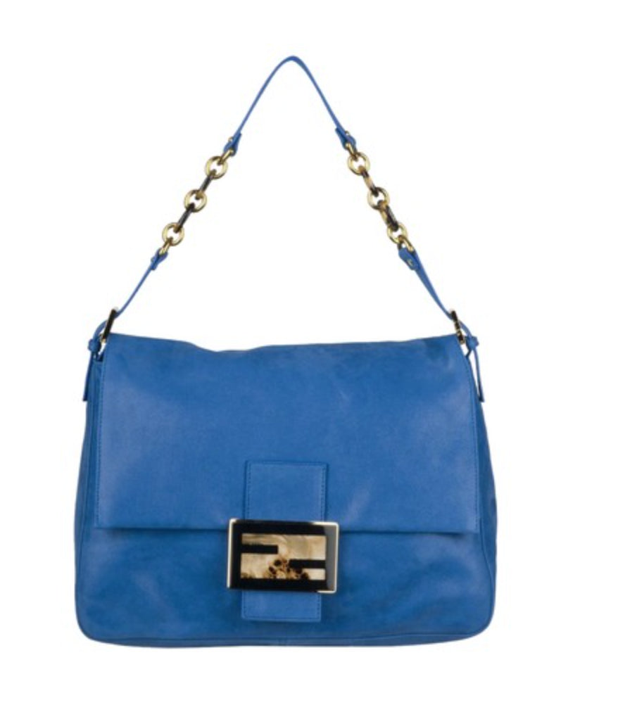 Fendi Big Mama Royal Blue Suede Hobo Bag