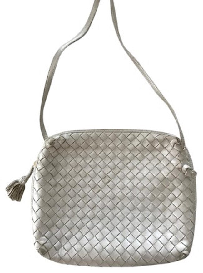 Bottega Veneta Intrecciato Nappa White Cross Body Bag