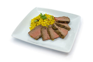 Grilled Steak with Curry Cauliflower Rice