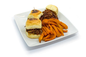 BBQ Brisket Sliders w/ Sweet Potato Fries