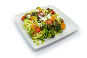 Meatless Pesto Zoodles and Veggies (Vegetarian)