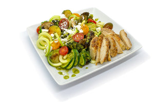Chicken Thigh over Pesto Zoodles and Veggies