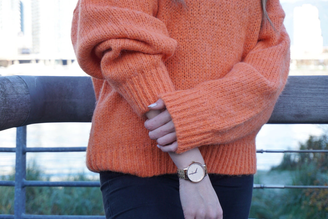 Orange V neck sweater