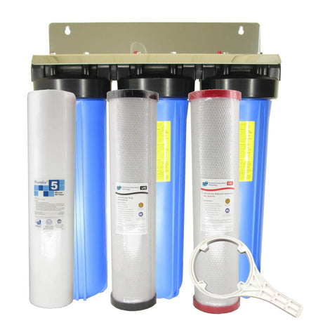 "WaterMark Certified Big Blue Triple Whole House Water Filter System 20"" x 4.5"" Chloramines Special"