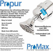 PROPUR™ CHROME SHOWER FILTER W/ PROMAX™ & MASSAGE HEAD - FLUORIDE