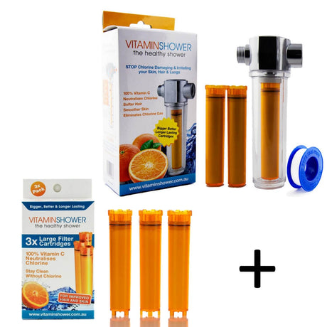 Universal Vitamin C Shower Filter Deluxe 12 Month Starter Supply Pack
