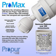 PROPUR™ SHOWER FILTER W/ PROMAX™ & MASSAGE HEAD - FLUORIDE