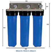 "WaterMark Certified Big Blue Triple Whole House Water Filter System 20"" x 4.5"" Chlorine Low Pressure Drop Special"