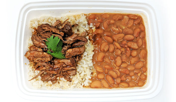 Shredded Beef Birria | Brown Rice | Re-fried Beans