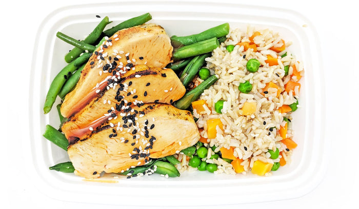 Orange-Sesame Chicken | Green Beans | Rice Pilaf