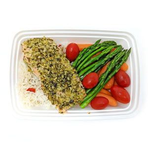 Pesto Crusted Salmon | Italian Rice | Garden Veggies