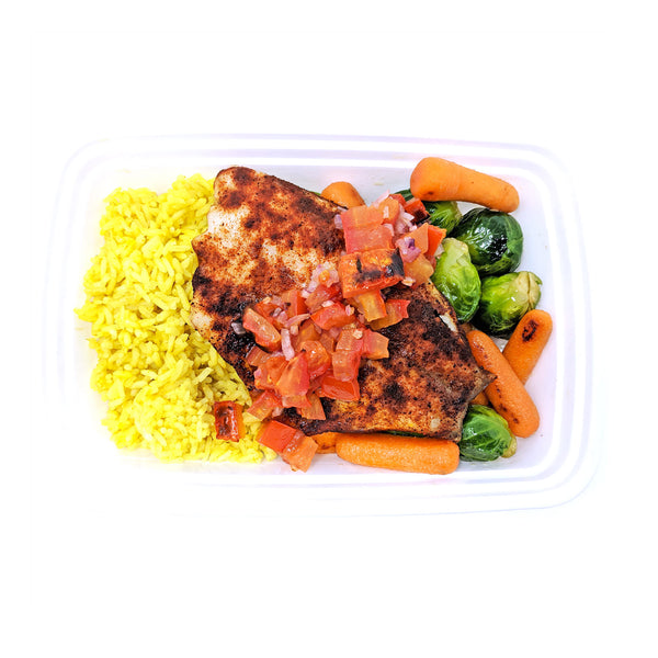 Tilapia Veracruz | Yellow Rice | Brussels Sprouts & Carrots