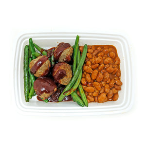 Chipotle BBQ Meatballs (spicy) | Baked Beans | Green Beans & Onions