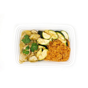 Chicken Verde | Spanish Rice | Chili-Zucchini
