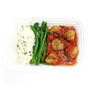 Chipotle Meatballs in Tomato Sauce (spicy) | Green Beans | Lite Mashed Potato