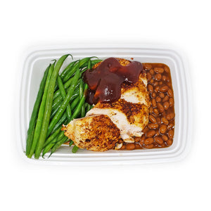 Honey-Mesquite BBQ Chicken |Baked Beans | Garlic Green beans