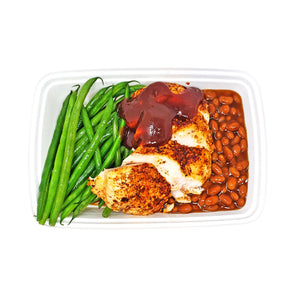Chipotle BBQ Chicken (spicy) | Vegetarian Baked Beans | Green Beans