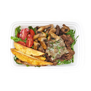Mushroom & Swiss Beef Bowl | Baked Potato Wedges | Tomato & Arugula