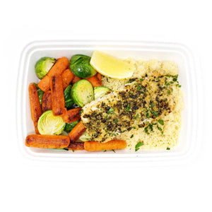 Salmon Pesto | Garlic Couscous | Brussels Sprouts & Carrots