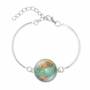 Planet Earth World Map Glass Bracelet