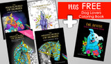 "4 Book Set - Horses Adult Coloring Books - PLUS FREE ""Dog Lover's"" Book - FREE SHIPPING TOO! - Top Brook"