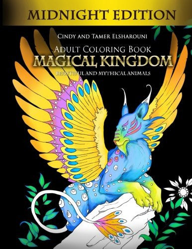 Adult Coloring Book: Magical Kingdom Midnight Edition: Beautiful and Mythical Animals - Top Brook