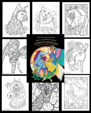 Cindy's Animals Adult Coloring Book Digital Download - Top Brook