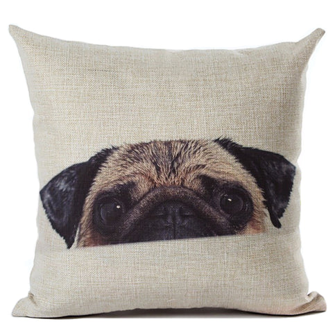 Cute Pug Dog Printed Cotton Linen Cushion Pillowcase - Top Brook