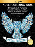 ADULT COLORING BOOK: Stress Relief Patterns Inspirational Words, Mandalas, Animals, Butterflies, Flowers, Motivational Quotes - Top Brook
