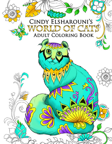 World of Cats: Adult Coloring Book