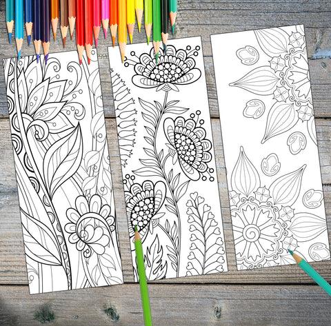 Beautiful Coloring DIY Bookmark Set Digital Download - Top Brook