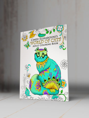 World Of Cats Adult Coloring Book Digital Download - Top Brook