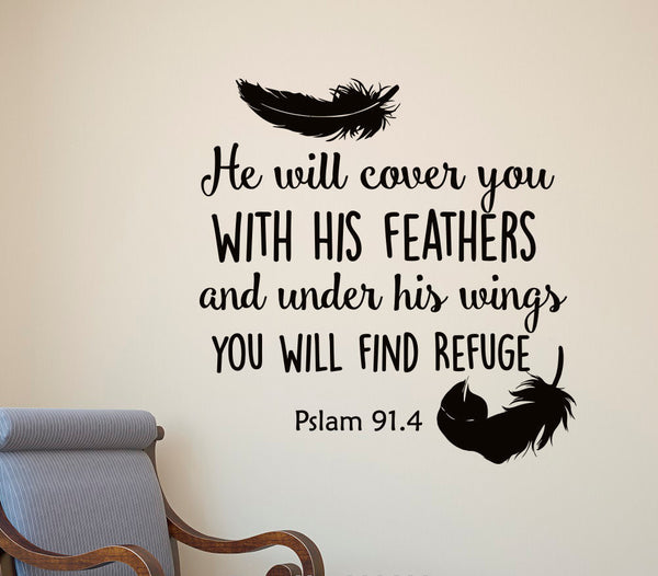 He Will Cover You Wall Decal  FREE SHIPPING - Top Brook