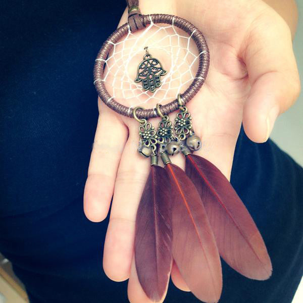 Native American Feather Dream Catcher Necklace - Top Brook