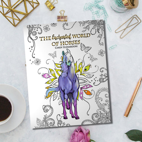 """Enchanted World of Horses"" Coloring Book Digital Download - Top Brook"