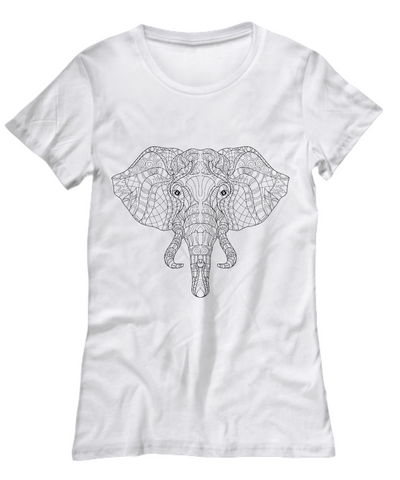 Zentangle Elephant Coloring T-shirt - Top Brook
