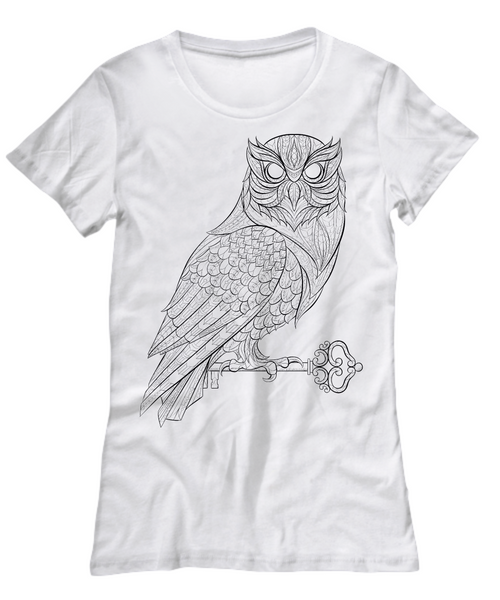 Zentangle Owl With Key White T-Shirt - Top Brook