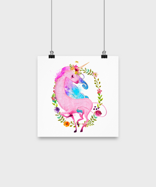 Pink Unicorn Poster Print - Top Brook