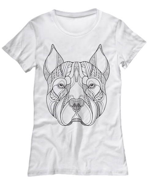 Pitbull Zentangle Design Tshirt For Women - Top Brook