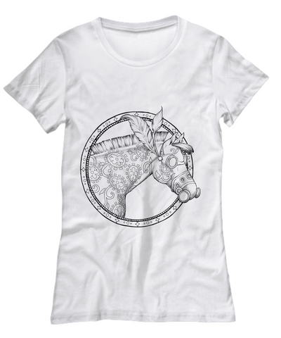 Steampunk Horse White T-Shirt - Top Brook