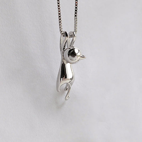 Cute Hanging Cat Charm Necklace - Top Brook