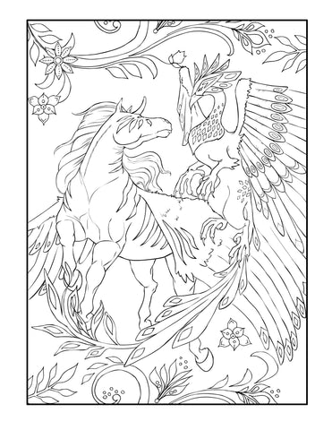 Fantasy Animal Digital Coloring Page For Download- Griffin And Horse
