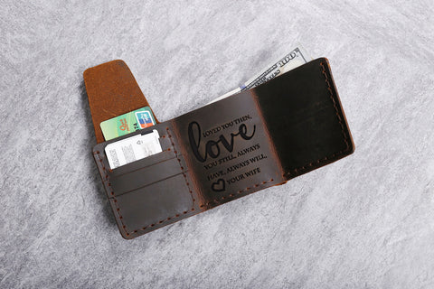 Handmade Genuine Leather Wallet Gift For Husband - Top Brook