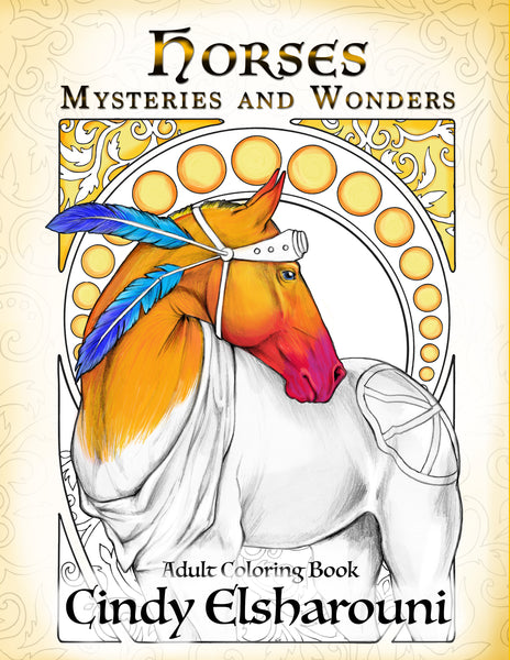 Horses: Mysteries and Wonders Adult Coloring Book - Top Brook